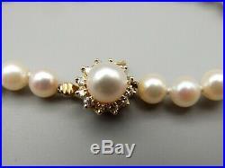 Vtg 14K Gold Cultured Pearl Diamond Bracelet Strand. 24 Carat Estate 7 Halo