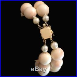Vtg 14K Gold Natural 11-12mm Angel Skin Coral Pearl Bead Double Strand Bracelet