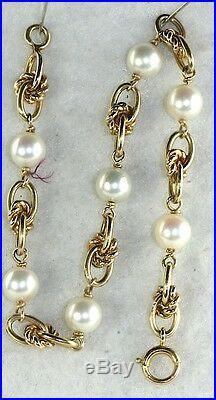Vtg 14k Gold 6.25mm Pearl Love Knot Charm Bracelet