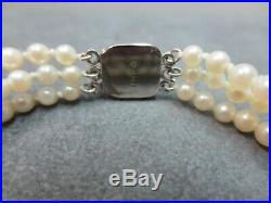 Vtg 14k Solid Gold Diamond Clasp Triple Graduated Cultured Pearl Bracelet