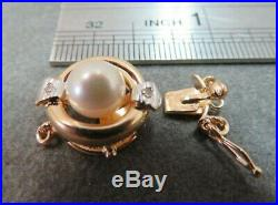 Vtg 14k Solid Gold Diamond Pearl Clasp for Double Strand Bracelet Necklace