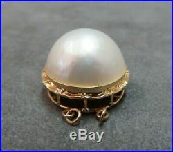 Vtg 14k Solid Gold Mabe Pearl Clasp for Double Strand Bracelet Necklace 5.24Gram