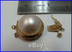 Vtg 14k Solid Gold Mabe Pearl Clasp for Triple Strand Bracelet Necklace 3.71 G