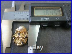 Vtg 14k Solid Gold Sapphire Pearl Clasp for Double Strands Bracelet Necklace