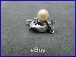 Vtg 14k Solid Gold Sapphire Pearl Clasp for Single Strand Bracelet Necklace