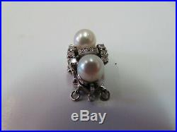 Vtg 14k Solid W. Gold Diamond Pearl Clasp for Double Strand Bracelet Necklace
