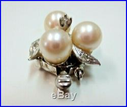 Vtg 14k Solid W. Gold Diamond Pearl Clasp for Single Bracelet Necklace 3.6 Gram