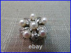 Vtg 14k Solid W. Gold Diamond Pearl Clasp for Triple Strands Bracelet Necklace