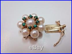 Vtg 14k Solid Y. Gold Pearl Turquoise Clasp for Triple Strand Bracelet Necklace