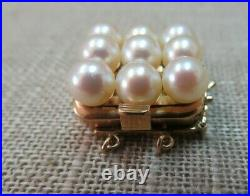 Vtg 14k Solid Yellow Gold Pearl Clasp for Double Strand Bracelet Necklace