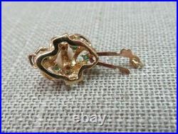 Vtg 14k Y. Gold Pearl Emerald Fishhook Clasp for Single Bracelet Necklace