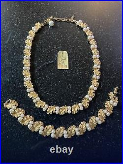 Vtg 50s crown trifari necklace bracelet set faux pearl gold plate leaf Lagoon