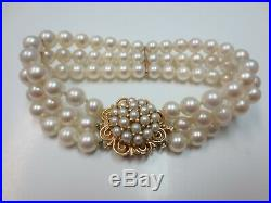 Vtg Triple Stand Pearl Bracelet with 14K Yellow Gold Pearl Flower Clasp / 7