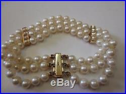 Vtg Triple Strand Pearl Bracelet with 14K Rose Gold Pearl Bar Clasp & Dividers