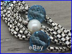 Women's David Yurman Sterling 18K Multi Strand Pearl & Blue Topaz Bracelet 7.75