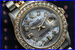 Women's Rolex 26mm Datejust 2 Tone White MOP Mother Of Pearl 8+2 Diamond Watch