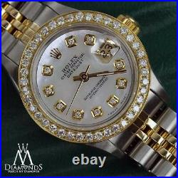 Women's Rolex 26mm Datejust 2 Tone White MOP Mother Of Pearl with Diamonds