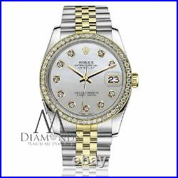 Women's Rolex 31mm Datejust 2 Tone White MOP Mother of Pearl Dial with Diamond