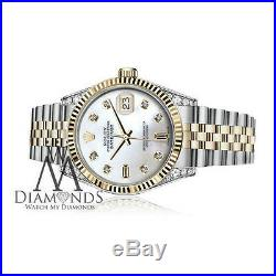 Women's Rolex 36mm Datejust 18K & SS White MOP Mother Of Pearl 8+2 Diamond Dial