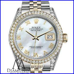 Women's Rolex 36mm Datejust 18K SS White MOP Mother Of Pearl Roman Numeral