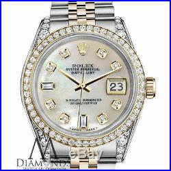 Women's Rolex 36mm Datejust 2 Tone White MOP Mother Of Pearl 8+2 Diamond Dial