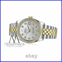 Women's Rolex 36mm Datejust 2 Tone White MOP Mother of Pearl Dial with Diamond