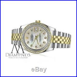 Women's Rolex 36mm Datejust 2 Tone White Mother of Pearl Diamond Dial Watch