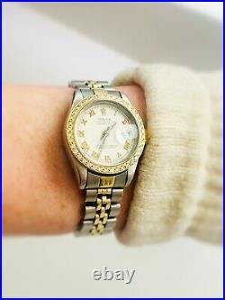 Women's Rolex Datejust 6917 Two Tone 18k Gold Diamond Dial + Bezel 26mm 1975
