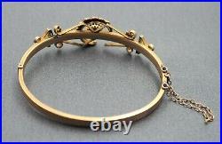 Womens Bangle 9ct Gold Garnet & Pearls Antique Victorian Vintage Jewellery