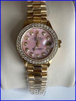 Womens Presidential 18k Gold Rolex Watch Diamond Bezel Pink Mother Of Pearl