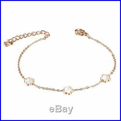 ZARD Delicate Clover Flower Rose Gold Mother of Pearl Charm Link Chain Bracelet